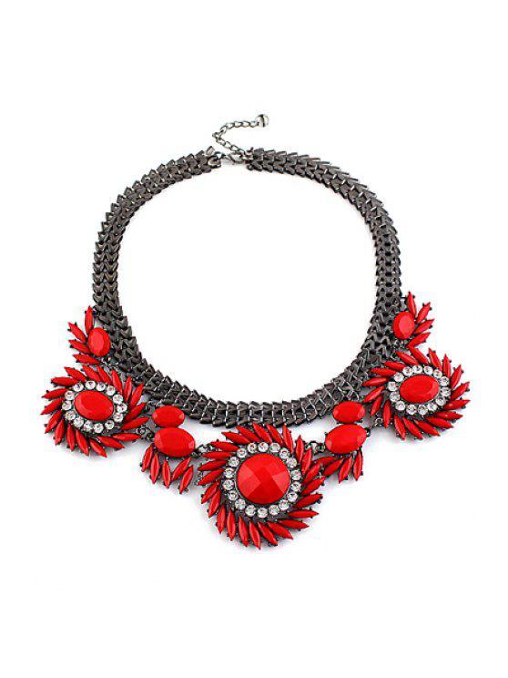 fancy Faux Gem Sunflower Necklace - RED
