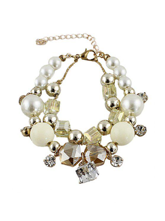 chic Faux Pearl Layered Bracelet - BEIGE