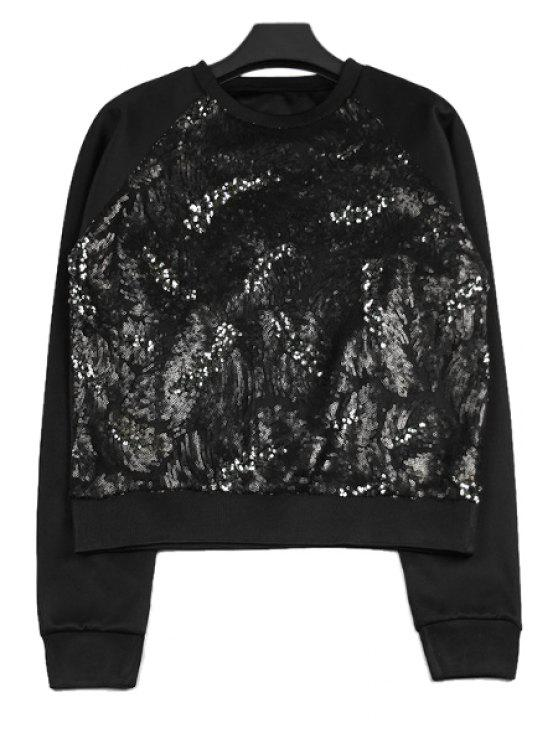 unique Sequins Splicing Long Sleeve Sweatshirt - BLACK ONE SIZE(FIT SIZE XS TO M)