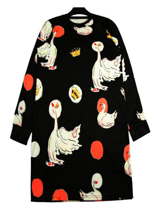 women's Swan Print Long Sleeve Dress - BLACK ONE SIZE(FIT SIZE XS TO M)