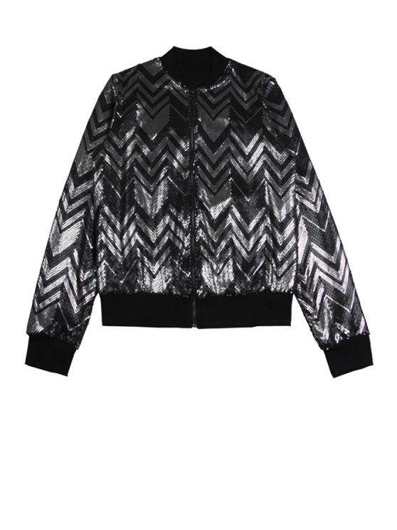 unique Wavy Sequins Stand Collar Jacket - BLACK ONE SIZE(FIT SIZE XS TO M)