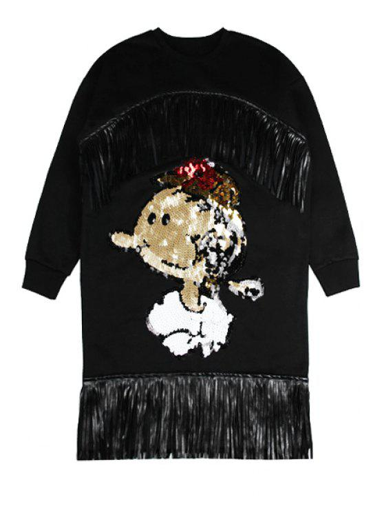 women's Sequins Character Pattern Fringe Dress - BLACK ONE SIZE(FIT SIZE XS TO M)