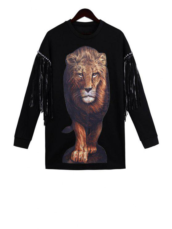 best Lion Pattern Long Sleeve Sweatshirt - BLACK ONE SIZE(FIT SIZE XS TO M)
