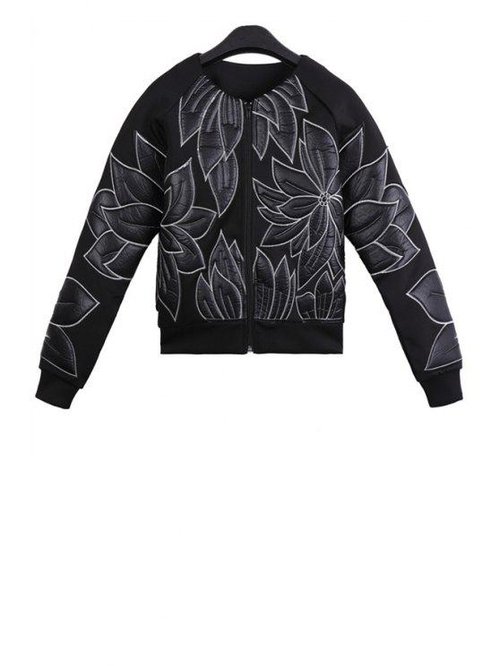 buy Floral Embroidery Round Collar Jacket - BLACK ONE SIZE(FIT SIZE XS TO M)
