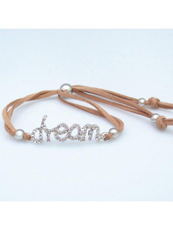 fashion Chic Rhinestone Decorated Letter Women's Bracelet - LIGHT COFFEE