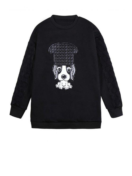 shops Puppy Pattern Long Sleeve Sweatshirt - BLACK ONE SIZE(FIT SIZE XS TO M)