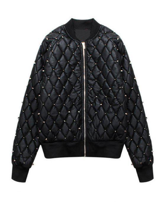lady Black PU Leather Rivet Jacket - BLACK ONE SIZE(FIT SIZE XS TO M)