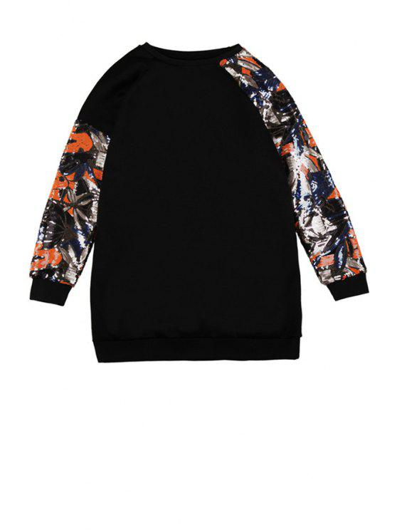 chic Long Sleeve Sequins Splicing Sweatshirt - BLACK ONE SIZE(FIT SIZE XS TO M)