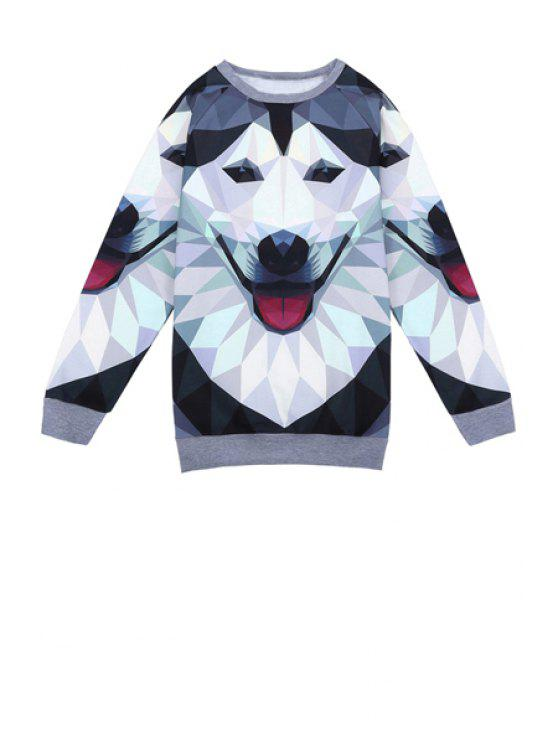 unique Wolf Print Long Sleeve Sweatshirt - COLORMIX ONE SIZE(FIT SIZE XS TO M)