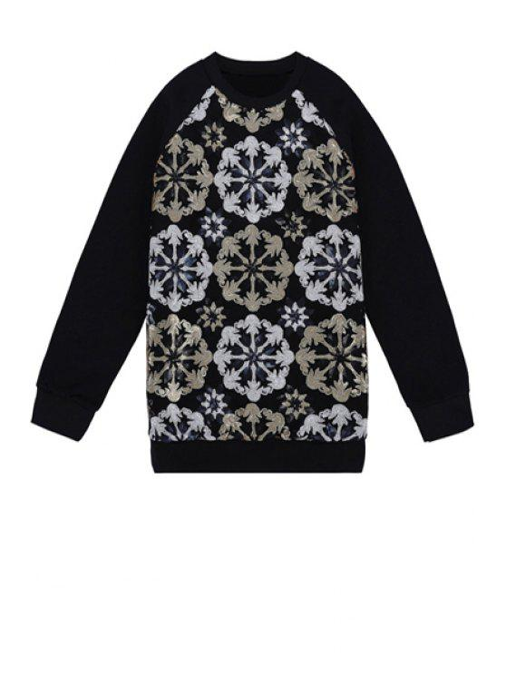 fashion Sequins Flower Pattern Sweatshirt - BLACK ONE SIZE(FIT SIZE XS TO M)