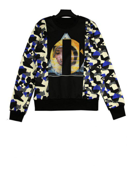fancy Round Collar Portrait Print Sweatshirt - BLACK ONE SIZE(FIT SIZE XS TO M)