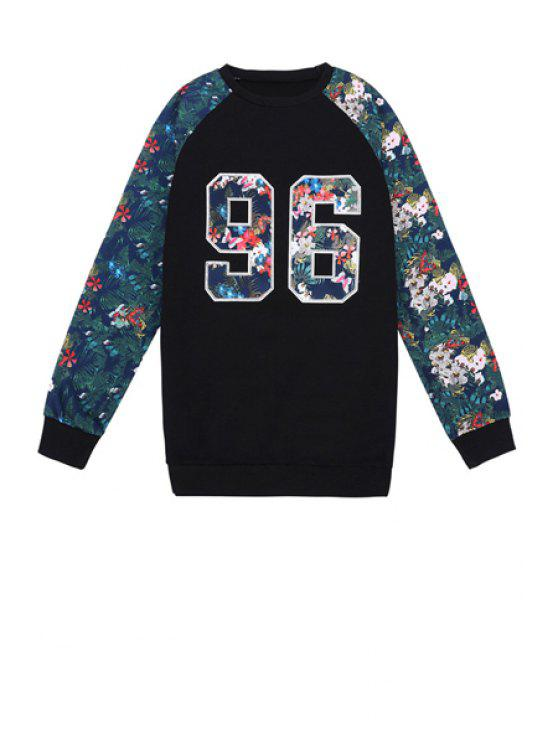 unique Number Pattern Floral Splicing Sweatshirt - BLACK ONE SIZE(FIT SIZE XS TO M)