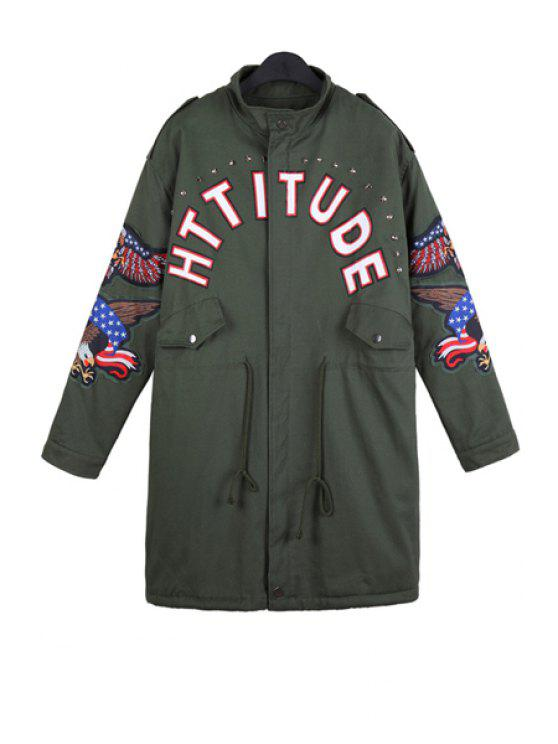 latest Letter Print Eagle Embroidery Coat - ARMY GREEN ONE SIZE(FIT SIZE XS TO M)