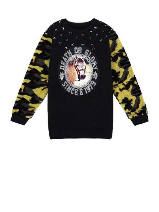 buy Horse Print Camouflage Splicing Sweatshirt - BLACK ONE SIZE(FIT SIZE XS TO M)