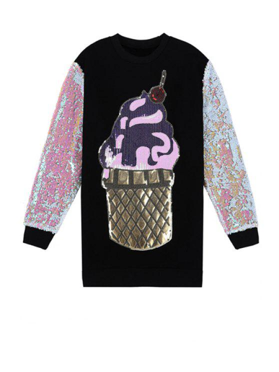 womens Ice-Cream Sequins Pattern Sweatshirt - BLACK ONE SIZE(FIT SIZE XS TO M)