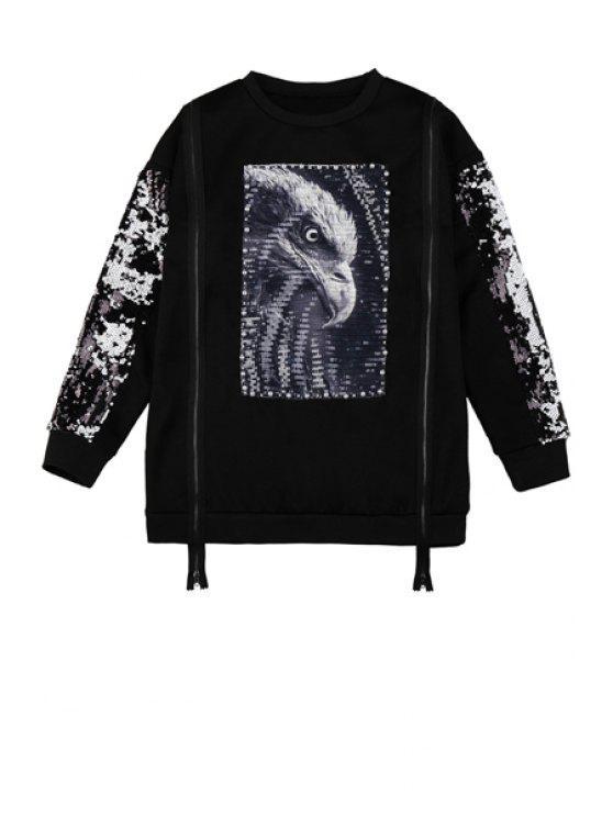 women Sequins Eagle Pattern Zipper Sweatshirt - BLACK ONE SIZE(FIT SIZE XS TO M)