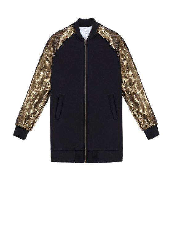 outfits Long Sleeve Sequins Splicing Jacket - BLACK ONE SIZE(FIT SIZE XS TO M)