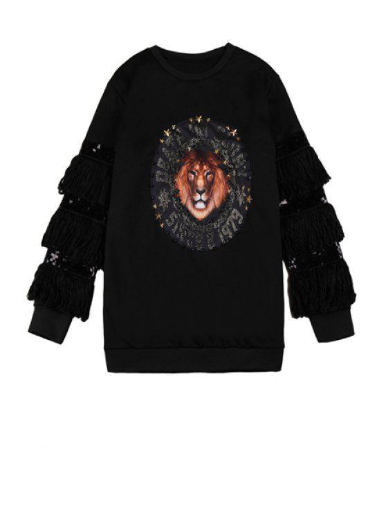 women's Long Sleeve Lion Print Fringe Sweatshirt - BLACK ONE SIZE(FIT SIZE XS TO M)
