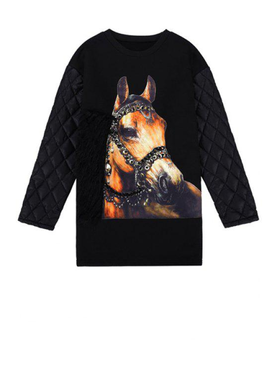 ladies Horse Pattern Long Sleeve Sweatshirt - BLACK ONE SIZE(FIT SIZE XS TO M)