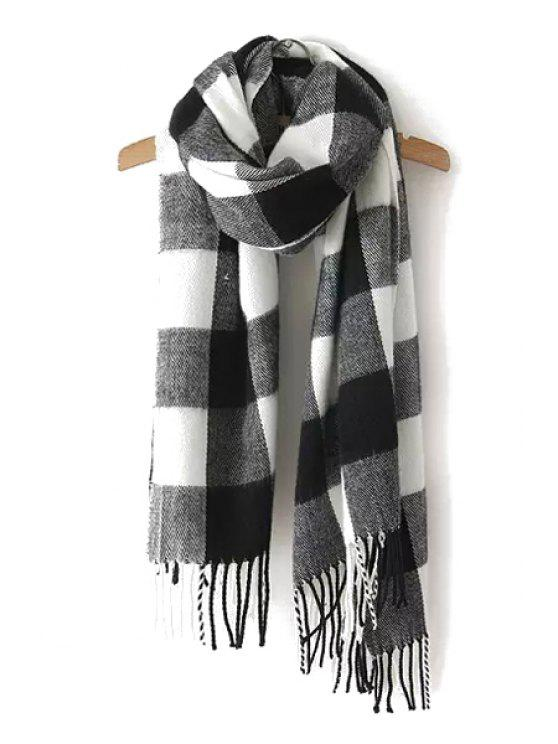 womens Plaid Tassels Scarf - WHITE AND BLACK