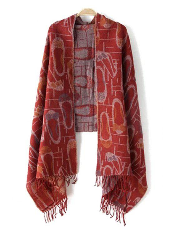 women's Shoes Jacquard Tassels Pashmina - WINE RED