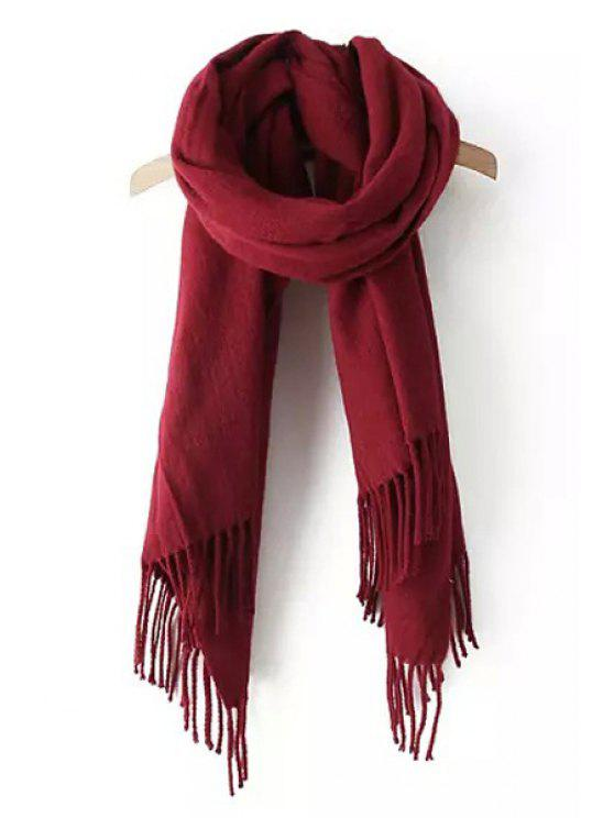 hot Tassels Solid Color Scarf - WINE RED