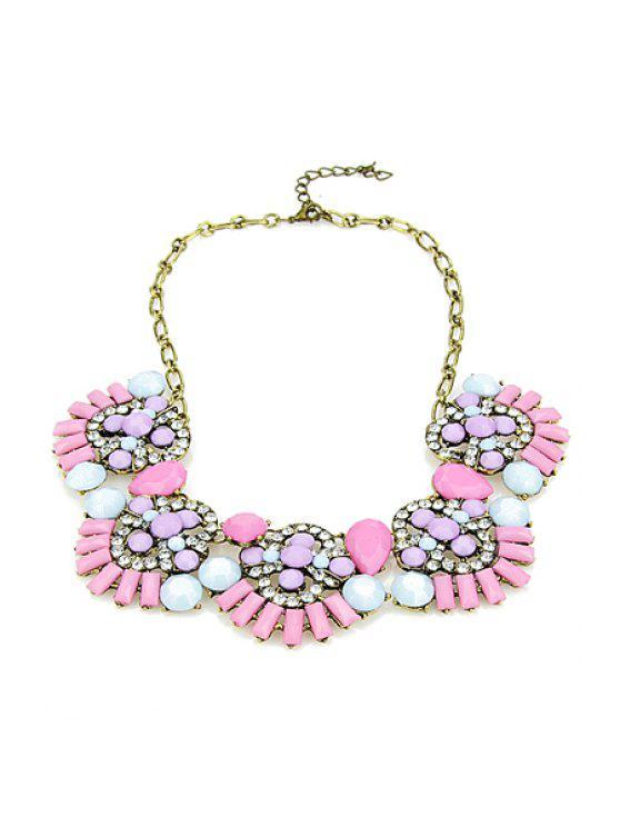 affordable Faux Gemstone Pendant Necklace - COLORMIX