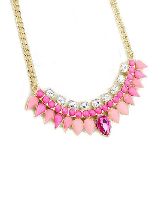 buy Faux Gemstone Waterdrop Necklace - PINK