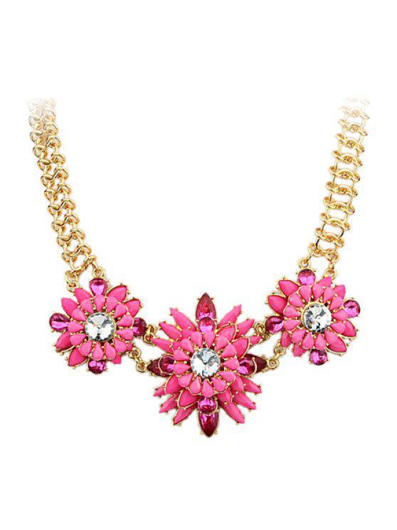 best Faux Gemstone Flower Pendant Necklace - PINK