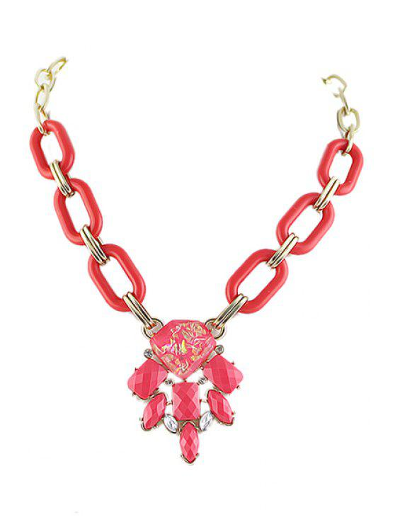 outfit Candy Color Faux Gemstone Pendant Necklace - RED
