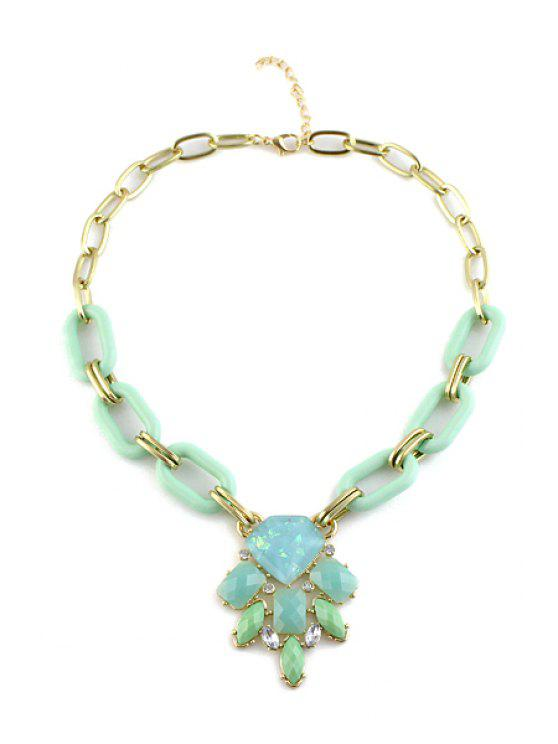 hot Candy Color Faux Gemstone Pendant Necklace - GREEN