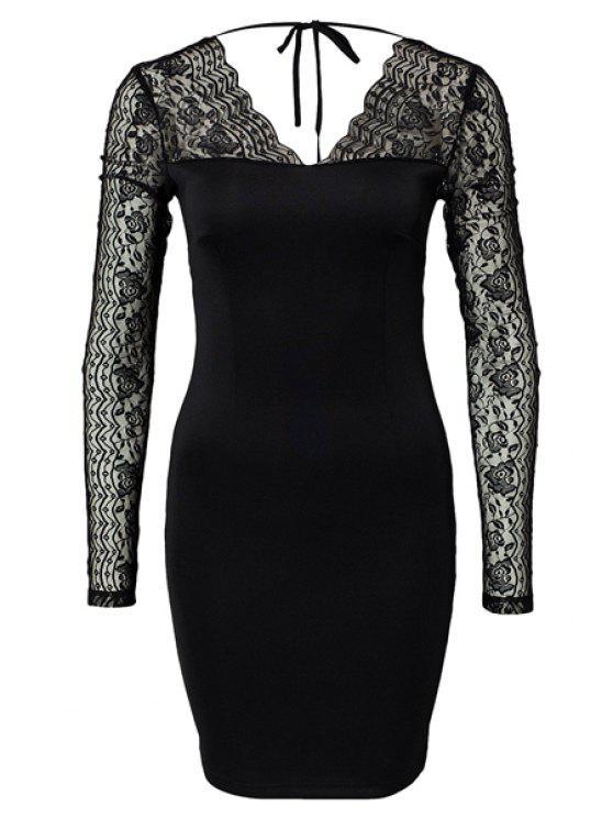 women's Lace Splicing Backless Bodycon Dress - BLACK XS