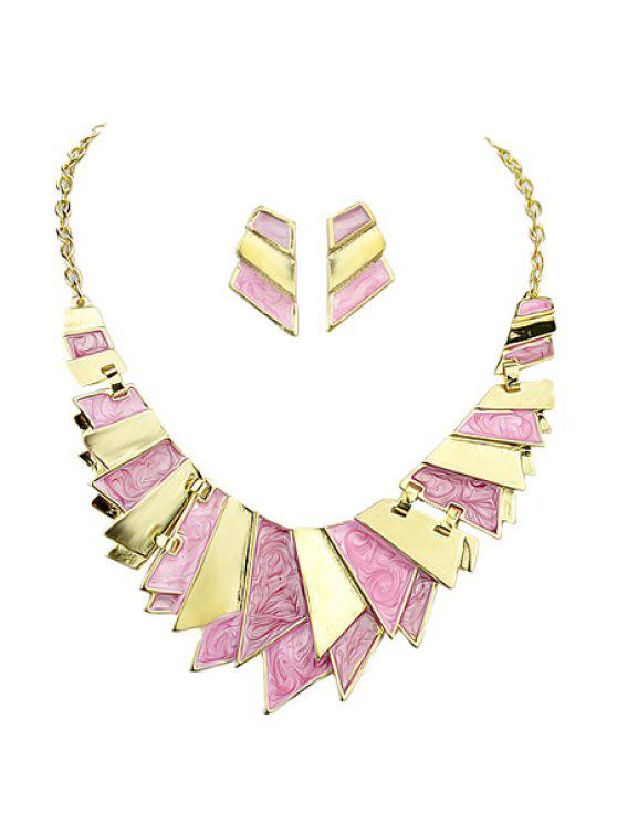 unique Geometric Shape Necklace and A Pair of Earrings - PINK