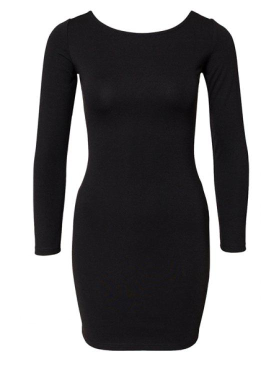 hot Black Long Sleeve Zipper Dress - BLACK XS