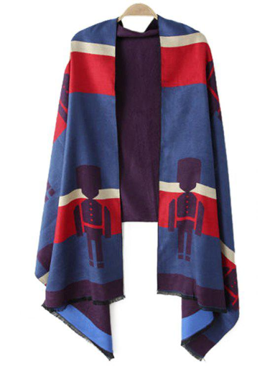 fancy Robot Pattern Color Block Pashmina - BLUE