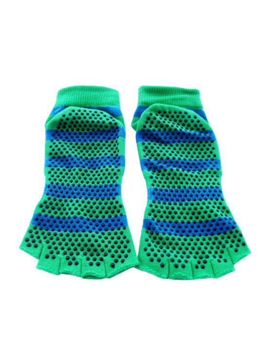 womens Silicone Dot Stripe Yoga Socks - GREEN
