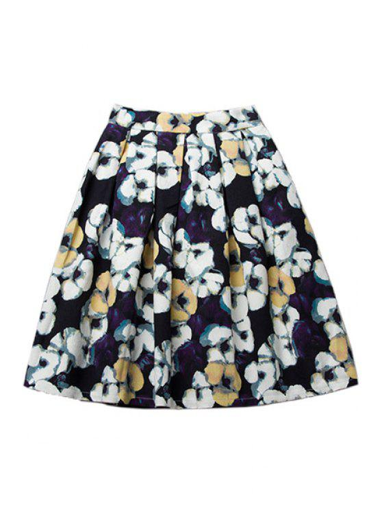 latest A-Line Floral Print Skirt - COLORMIX S
