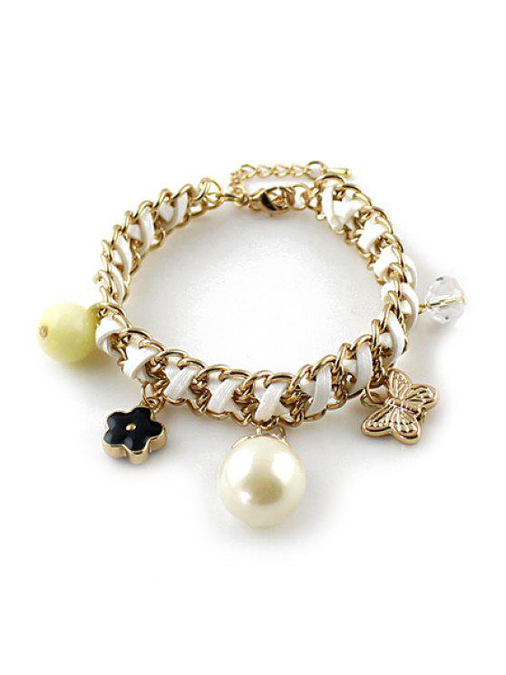 ladies Star Butterfly Faux Pearl Decorated Bracelet - WHITE
