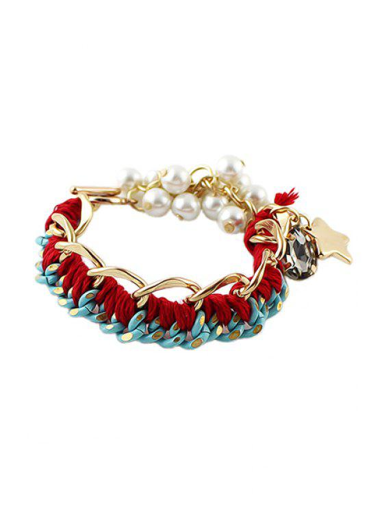 best Faux Pearl Star Embellished Bracelet - RED