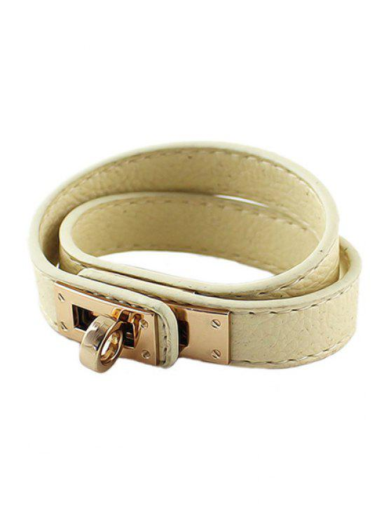 shop Multi-Layered Leather Bracelet - OFF-WHITE