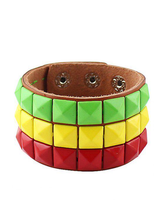 trendy Adjustable Faux Leather Bracelet - COLORFUL
