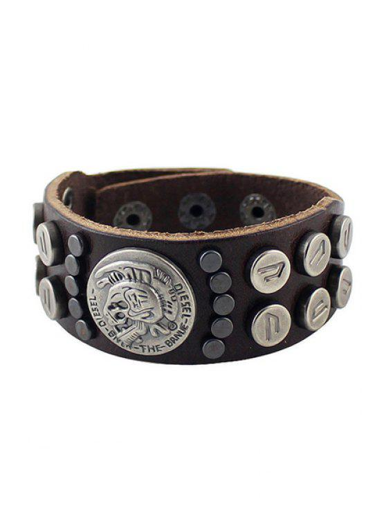 fashion Rivet Decorated Leather Bracelet - COFFEE