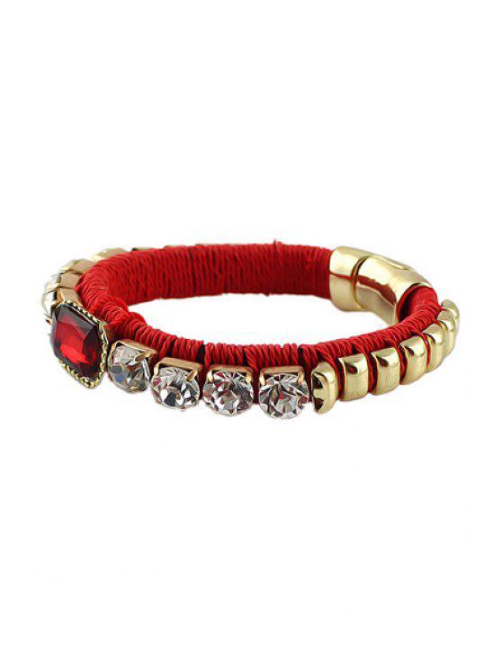 unique Rhinestone Decorated Alloy Bracelet - RED