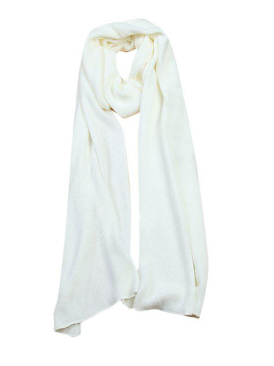 ladies Solid Color Long Scarf - WHITE