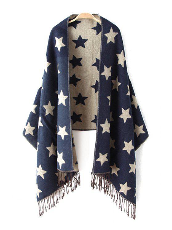 new Star Pattern Fringe Pashmina - BLUE
