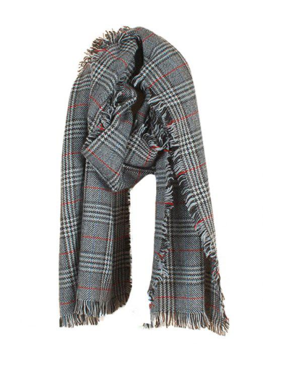 hot Fringe Stripe Plaid Scarf - GRAY