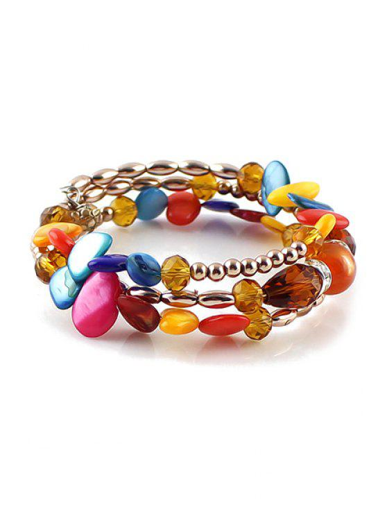 women's Beads Faux Gem Bracelet - COFFEE