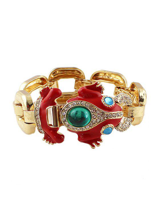 hot Faux Gemstone Frog Shape Bracelet - RED