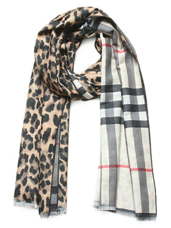 shop Leopard Plaid Two-Faced Scarf - LIGHT COFFEE