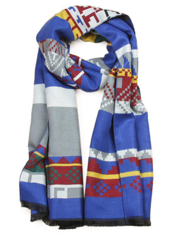 shops Geometric Print Color Block Scarf - BLUE
